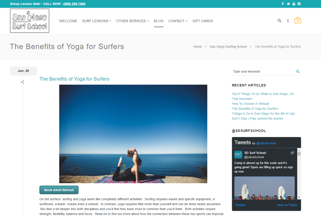 Copywriting- Yoga for Surfers